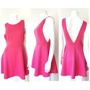 Missguided Hot Pink Skater Mini Dress
